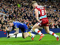 Warrington Wolves' Josh Charnley goes over for the first score<br /> <br /> Photographer Alex Dodd/CameraSport<br /> <br /> Betfred Super League Grand Final - Wigan Warriors v Warrington Wolves - Saturday 13th October 2018 - Old Trafford - Manchester<br /> <br /> World Copyright © 2018 CameraSport. All rights reserved. 43 Linden Ave. Countesthorpe. Leicester. England. LE8 5PG - Tel: +44 (0) 116 277 4147 - admin@camerasport.com - www.camerasport.com