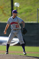 March 6 2009: Mark Obenchain of the Evansville Purple Aces in action against the Pepperdine Waves at Eddy D. Field Stadium in Malibu,CA.  Photo by Larry Goren/Four Seam Images