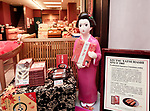 Izutsu Yatsuhashi, traditional Japanese cinnamon cookie confectionary on display in a Kyoto souvenir treats store. Kyoto, Japan 2017 Image © MaximImages, License at https://www.maximimages.com