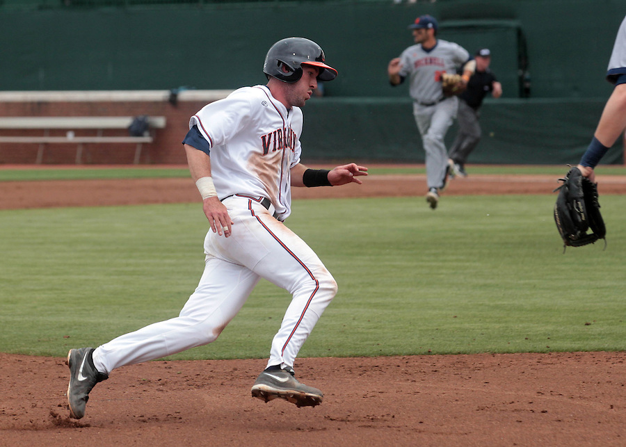 Virginia infielder Branden Cogswell (7) rounds third headed for home plate during the game against Bucknell Friday at Davenport Field in Charlottesville, VA. Photo/The Daily Progress/Andrew Shurtleff