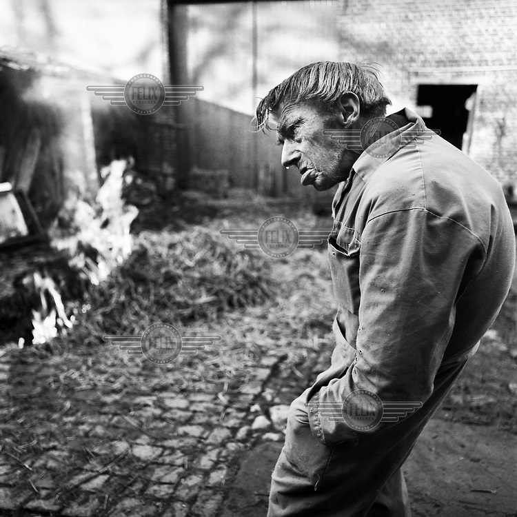 Theofiel burning a pig in his yard. Theofiel was a bachelor all his life and lived on his own at his farm. He kept cows, pigs and horses. At the end of his life he struggled to keep his farm going due to his frailty.