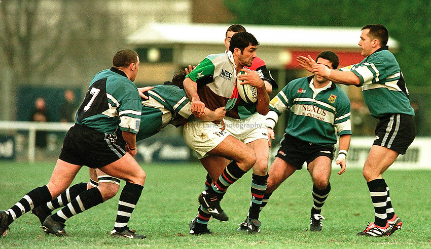 .European Shield - Harlequins v Ebbw Vale..Pat Sanderson playing his first game since returning from injury, is surrounded by Ebbw Vale players as he tries to break away.. ...........