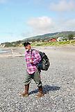USA, Alaska, Homer, longtime local and fisherman Bumpo Bremicker at Bishop Beach, Kachemak Bay
