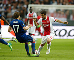 Daley Blind of Manchester United tackles Amin Younes of Ajax during the UEFA Europa League Final match at the Friends Arena, Stockholm. Picture date: May 24th, 2017.Picture credit should read: Matt McNulty/Sportimage