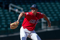 Arizona Wildcats starting pitcher Avery Weems (27) during an NCAA exhibition game against Cal State Fullerton Titans at Sloan Park on October 28, 2018 in Mesa, Arizona. (Zachary Lucy/Four Seam Images)
