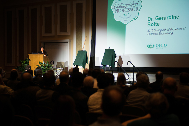 2016 Distinguisehd Professor Award recipient, Dr. Gerardine Botte, speaks with attendees about the achievements of Dr.  Alexander Govorov during the Distinguished Professor Award Ceremony at Ohio University's Baker Center Ballroom on Monday, February 20, 2017.