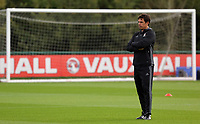 Pictured: Manager Chris Coleman watches his players train. Monday 02 October 2017<br /> Re: Wales football training, ahead of their FIFA Word Cup 2018 qualifier against Georgia, Vale Resort, near Cardiff, Wales, UK.