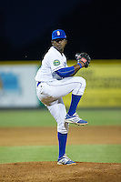 Burlington Royals relief pitcher Felix Familia (46) in action against the Princeton Rays at Burlington Athletic Stadium on June 24, 2016 in Burlington, North Carolina.  The Rays defeated the Royals 16-2.  (Brian Westerholt/Four Seam Images)