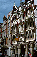 "London:  33-35 Eastcheap, 1877. R. L.  Roumieu.  See NAIRN, p. 34:  ""Demolition is in the air; but it must be preserved.""  Victorian Gothic.  Photo '90."