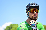 Green Jersey Peter Sagan (SVK) Bora-Hansgrohe at sign on before the start of Stage 10 of the 2018 Tour de France running 158.5km from Annecy to Le Grand-Bornand, France. 17th July 2018. <br /> Picture: ASO/Alex Broadway | Cyclefile<br /> All photos usage must carry mandatory copyright credit (&copy; Cyclefile | ASO/Alex Broadway)