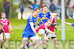 Spa Andrew Garnett gets in his shot under pressure from Dromid's Micheal O Siochain during their Intermediate semi final in Killorglin on Saturday