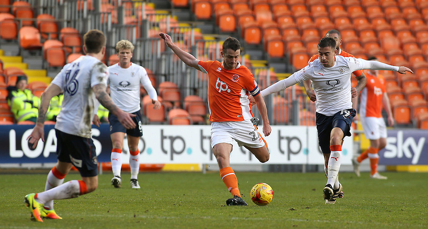 Blackpool's Danny Pugh shapes up to shoot during the first half<br /> <br /> Photographer David Shipman/CameraSport<br /> <br /> The EFL Sky Bet League Two - Blackpool v Luton Town - Saturday 17th December 2016 - Bloomfield Road - Blackpool<br /> <br /> World Copyright &copy; 2016 CameraSport. All rights reserved. 43 Linden Ave. Countesthorpe. Leicester. England. LE8 5PG - Tel: +44 (0) 116 277 4147 - admin@camerasport.com - www.camerasport.com