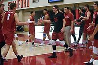 STANFORD, CA - December 30, 2017: Stephen Moye, Jake Stuebner at Burnham Pavilion. The Stanford Cardinal defeated the Calgary Dinos 3-1.