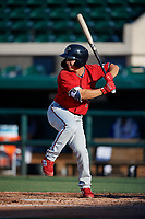 Fort Myers Miracle Ernie De La Trinidad (7) bats during a Florida State League game against the Lakeland Flying Tigers on August 3, 2019 at Publix Field at Joker Marchant Stadium in Lakeland, Florida.  Lakeland defeated Fort Myers 4-3.  (Mike Janes/Four Seam Images)