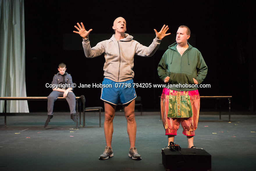 Edinburgh, UK. 09.08.2014.  GANESH VERSUS THE THIRD REICH, presented by Australian company, Back to Back Theatre, opens at the Royal Lyceum Theatre, as part of the Edinburgh International Festival. Picture shows:  David Woods and Brian Tilley (front) and Scott Price. Photograph © Jane Hobson.
