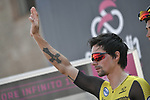 Primoz Roglic (SLO) Team Jumbo-Visma at sign on before Stage 11 of the 2019 Giro d'Italia, running 221km from Carpi to Novi Ligure, Italy. 22nd May 2019<br /> Picture: Fabio Ferrari/LaPresse | Cyclefile<br /> <br /> All photos usage must carry mandatory copyright credit (© Cyclefile | Fabio Ferrari/LaPresse)