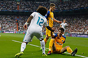13th September 2017, Santiago Bernabeu, Madrid, Spain; UCL Champions League football, Real Madrid versus Apoel; Marcelo Viera da Silva (12) Real Madrid helps the defender to his feet