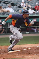 Houston Astros designated hitter Nate Frieman (56) hustles down the first base line against the Miami Marlins during a spring training game at the Roger Dean Complex in Jupiter, Florida on March 12, 2013. Houston defeated Miami 9-4. (Stacy Jo Grant/Four Seam Images)........