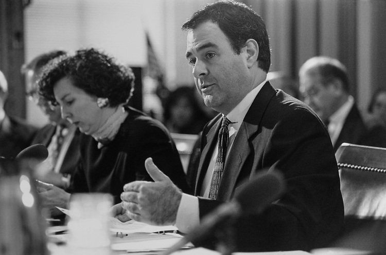 Chief Administrative Officer Scot Faulkner, and Clerk of House of Representatives Robin H. Carle, at the Legislative Appropriation Hearing, on Feb. 27, 1996. (Photo by Maureen Keating/CQ Roll Call via Getty Images)