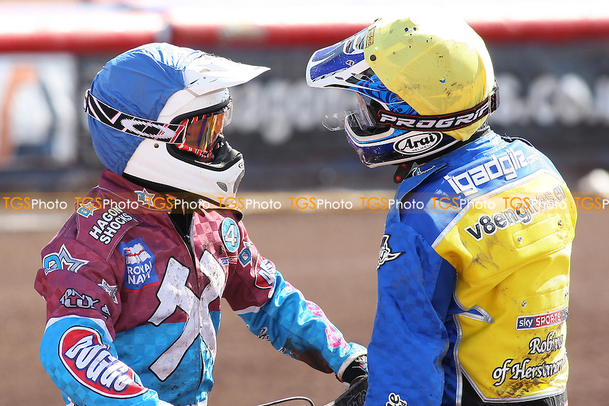 Heat 5: Rob Mear (blue) and Lukas Dryml have a disagreement after crashing out - Lakeside Hammers vs Eastbourne Eagles - Sky Sports Elite League Speedway at Arena Essex Raceway, Purfleet - 06/04/12 - MANDATORY CREDIT: Gavin Ellis/TGSPHOTO - Self billing applies where appropriate - 0845 094 6026 - contact@tgsphoto.co.uk - NO UNPAID USE.