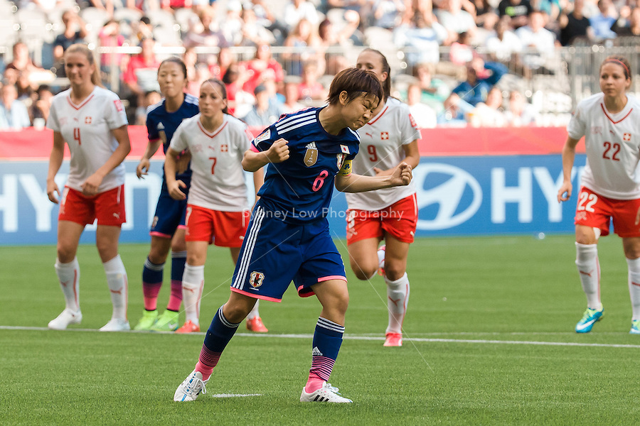 June 8, 2015: Aya MIYAMA of Japan celebrates her penalty goal during a Group C match at the FIFA Women's World Cup Canada 2015 between Japan and Switzerland at BC Place Stadium on 8 June 2015 in Vancouver, Canada. Sydney Low/AsteriskImages