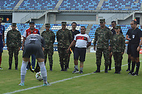 SANTA MARTA - COLOMBIA, 06-10-2019: Homenaje a las fuerzas militares de Colombia previo al partido por la fecha 15 de la Liga Águila II 2019 entre Unión Magdalena y Rionegro Águilas jugado en el estadio Sierra Nevada de la ciudad de Santa Marta. / Tribute to the military forces of Colombia prior a match for the date 15 as part Aguila League II 2019 between Union Magdalena and Rionegro Aguilas played at Sierra Nevada stadium in Santa Marta city. Photo: VizzorImage / Gustavo Pacheco / Cont