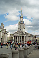 St. Martin-in-the-Fields and crowd in Trafalgar Square, London, England