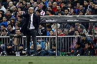 26.02.2012 MADRID, SPAIN -  La Liga match played between At. Madrid vs Barcelona F.C. (1-2) at Vicente Calderon stadium. the picture show Josep Guardiola coach of F.C. Barcelona