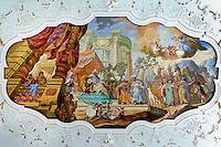 Deckengemälde im Joseph-Saal, im Kloster Bronnbach bei Wertheim, Baden-Württemberg, Deutschland