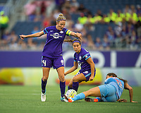 Orlando, FL - Saturday July 16, 2016: Becky Edwards, Sofia Huerta during a regular season National Women's Soccer League (NWSL) match between the Orlando Pride and the Chicago Red Stars at Camping World Stadium.