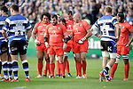 The Toulouse front-five get down to business - European Rugby Champions Cup - Bath Rugby vs Toulouse - Recreation Ground Bath - Season 2014/15 - October 25th 2014 - <br /> Photo Malcolm Couzens/Sportimage