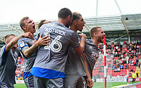 Lincoln City's Tyler Walker, second in from right, celebrates scoring the opening goal with team-mates, from left, Joe Morrell, Harry Anderson, Jorge Grant (partly hidden), Michael Bostwick and Jack Payne<br /> <br /> Photographer Chris Vaughan/CameraSport<br /> <br /> The EFL Sky Bet Championship - Rotherham United v Lincoln City - Saturday 10th August 2019 - New York Stadium - Rotherham<br /> <br /> World Copyright © 2019 CameraSport. All rights reserved. 43 Linden Ave. Countesthorpe. Leicester. England. LE8 5PG - Tel: +44 (0) 116 277 4147 - admin@camerasport.com - www.camerasport.com