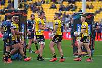 TJ Perenara celebrates his try during the Super Rugby Aotearoa match between the Hurricanes and Highlanders at Sky Stadium in Wellington, New Zealand on Sunday, 12 July 2020. Photo: Dave Lintott / lintottphoto.co.nz