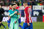 FC Barcelona's forward Leo Messi and Atletico de Madrid's forward Fernando Torres  during the match of Copa del Rey between Atletico de  Madrid and Futbol Club Barcelona at Vicente Calderon Stadium in Madrid, Spain. February 1st 2017. (ALTERPHOTOS/Rodrigo Jimenez)