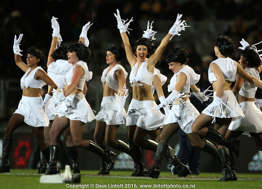Dancers entertain the crowd before the match. Tri Nations - All Blacks v Australia at Eden Park, Auckland, New Zealand. Saturday 14 July 2009. Photo: Dave Lintott / lintottphoto.co.nz