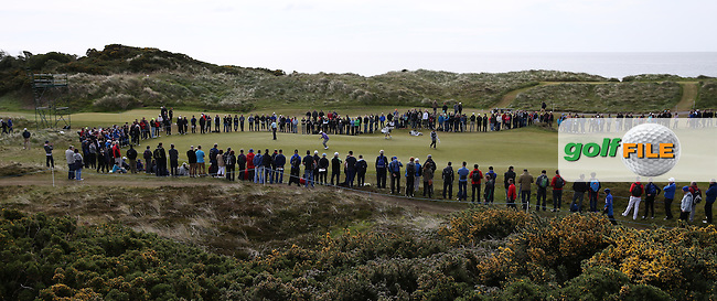 View of the first green during Round Three of the 2015 Dubai Duty Free Irish Open Hosted by The Rory Foundation at Royal County Down Golf Club, Newcastle County Down, Northern Ireland. 30/05/2015. Picture David Lloyd   www.golffile.ie