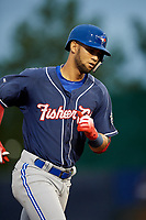 New Hampshire Fisher Cats shortstop Lourdes Gurriel Jr. (16) rounds the bases after hitting a home run in the top of the ninth inning during a game against the Trenton Thunder on August 19, 2018 at ARM & HAMMER Park in Trenton, New Jersey.  New Hampshire defeated Trenton 12-1.  (Mike Janes/Four Seam Images)