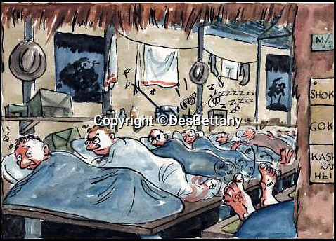 BNPS.co.uk (01202 558833)<br /> Pic: DesBettany/BNPS<br /> <br /> ***Please Use Full Byline***<br /> <br /> Numerous men looking on in anger at a sleeping prisoner, whos feet are exposed. (In Singapore, where the came was exposed feet attracted mosquitoes). <br /> <br /> The family of a Prisoner of War who drew for his captured comrades are being inundated with his lost art work 70 years later after issuing an appeal to find it.<br /> <br /> Nearly 60 poignant paintings by the late Des Bettany have been found by the relatives of those who he served alongside in World War Two.<br /> <br /> The talented artist-turned-soldier spent three years in a Japanese PoW camp and created amusing cartoons which he often gave away to help keep up the morale of the men.<br /> <br /> His son Keith, 62, launched a website to help uncover his father's artistic legacy and has been astonished by the response from the families of PoWs around the world.