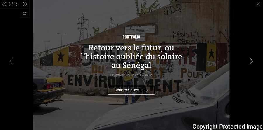 Lien vers le portfolio et l'article sur lemonde.fr:<br /> <br /> http://www.lemonde.fr/afrique/article/2017/03/24/retour-vers-le-futur-ou-l-histoire-oubliee-du-solaire-au-senegal_5100471_3212.html<br /> <br /> Sur le site du laboratoire Triangle-ENS-Lyon:<br /> <br /> http://triangle.ens-lyon.fr/spip.php?article6768