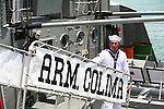Mexican sailor on the ARM.COLIMA battleship during the annual NAVY DAY celebration