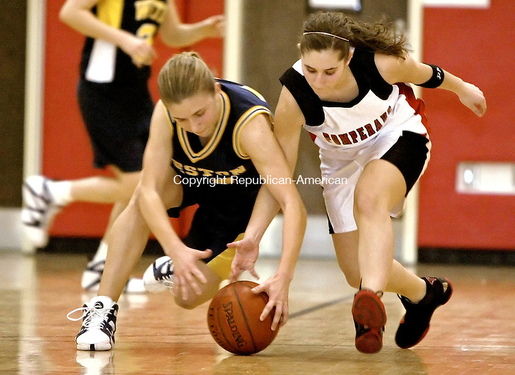 SOUTHBURY, CT  15 FEBRUARY 2005 -021506JS03--Pomperaug's Tara Koliani right, and Weston's Carolyne Judge battle for a loose ball during thier game Wednesday at Pomperaug High School.     --- Jim Shannon Republican-American --Carolyne Judge, Tara Koliani, Pomperaug, Weston are CQ