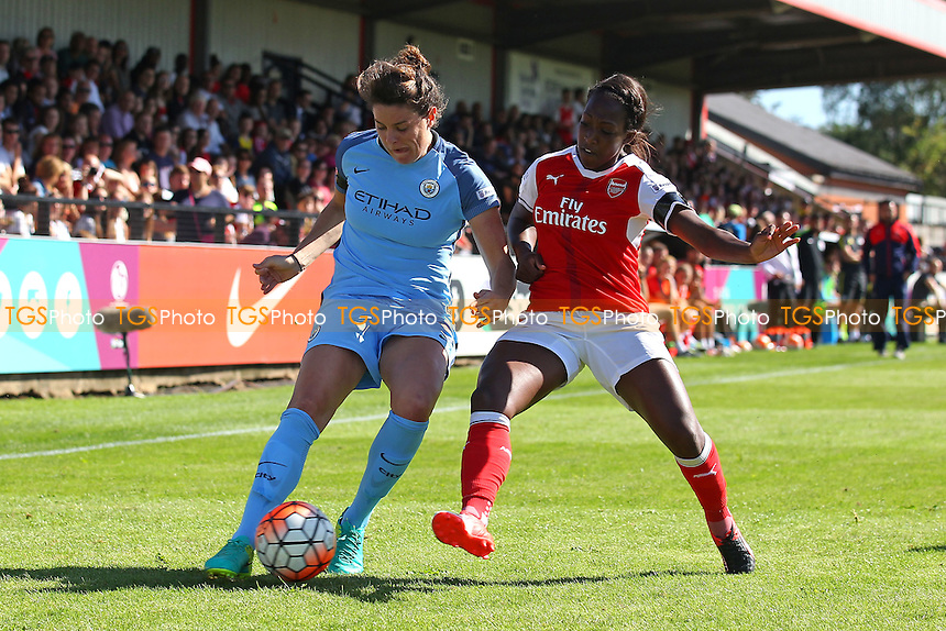 Jennifer Beattie of Manchester City and Danielle Carter of Arsenal during Arsenal Ladies vs Manchester City Women, FA Women's Super League FA WSL1 Football at Meadow Park on 11th September 2016