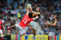 Tim Visser of Harlequins claims the ball in the air. Aviva Premiership match, between Harlequins and Saracens on September 24, 2016 at the Twickenham Stoop in London, England. Photo by: Patrick Khachfe / JMP
