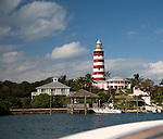 Famous candy striped lighthouse on Elbow Cay, Abacos, Bahamas