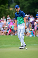 Jordan Spieth (USA) watches his putt on 4 during Friday's round 2 of the PGA Championship at the Quail Hollow Club in Charlotte, North Carolina. 8/11/2017.<br /> Picture: Golffile | Ken Murray<br /> <br /> <br /> All photo usage must carry mandatory copyright credit (&copy; Golffile | Ken Murray)