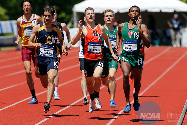 GENEVA, OH - MAY 27:  Deko Ricketts, right, of Washington University crosses the finish line first in the 800M run during the Division III Men's and Women's Track & Field Championships held at the SPIRE Institute on May 27, 2017 in Geneva, Ohio. (Photo by Jay LaPrete/NCAA Photos/NCAA Photos via Getty Images)