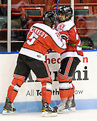 John Kennedy (RPI - 5), Brock Higgs (RPI - 23) - The visiting Rensselaer Polytechnic Institute Engineers tied their host, the Northeastern University Huskies, 2-2 (OT) on Friday, October 15, 2010, at Matthews Arena in Boston, MA.