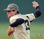 Starting pitcher Jordan Accetta (13) of the Wofford Terriers in a game against the Presbyterian Blue Hose on Wednesday, March 19, 2014, at Fluor Field at the West End in Greenville, South Carolina. (Tom Priddy/Four Seam Images)