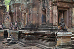 Angkorian temple Banteay Srei (late 10th century) 967.<br /> Doorway on right leading into Mandapa and central tower sanctuary.<br /> Banteay Srei temple is situated 20km north of Angkor, built during the reign of Rajendravarman by Yajnavaraha, one of his counsellors. In antiquity Isvarapura was a small city that grew up around the temple. Banteay Srei was dedicated to the worship of Shiva, the foundation stele describes the consecration of the linga Tribhuvanamahesvara (Lord of the three worlds) in 967.