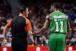 Darussafaka Dogus's Brad Wanamaker talking with the referee during quarter final of Turkish Airlines Euroleague match between Real Madrid and Darussafaka Dogus at Wizink Center in Madrid, April 20, 2017. Spain.<br /> (ALTERPHOTOS/BorjaB.Hojas)
